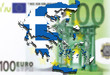 close up on Greece map on Euro money background
