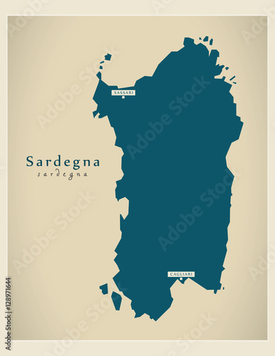 Photo  Modern Map - Sardegna IT Italy