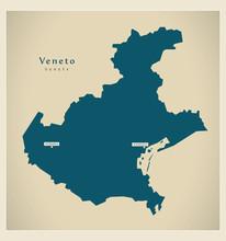 Modern Map - Veneto IT Italy