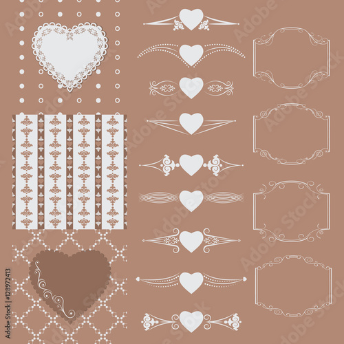 Türaufkleber Künstlich Collection of frames of different shapes, seamless patterns with hearts and separators. Vector illustration.