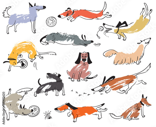 Hand Drawn Doodle Cute Dogs Illustration Set With Plaing Pets With
