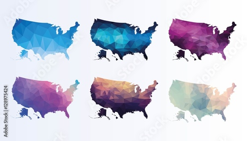 Polygonal Usa map set Wallpaper Mural