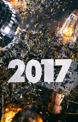 Fotografie, Obraz  2017 New Year's Eve Grunge Background With Champagne Cork