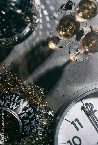 2017 New Year's Eve Grunge Background With Champagne And Disco B Poster
