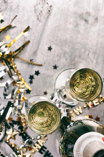 Fotografie, Obraz  NYE: Champagne To Celebrate New Year On Grunge Background