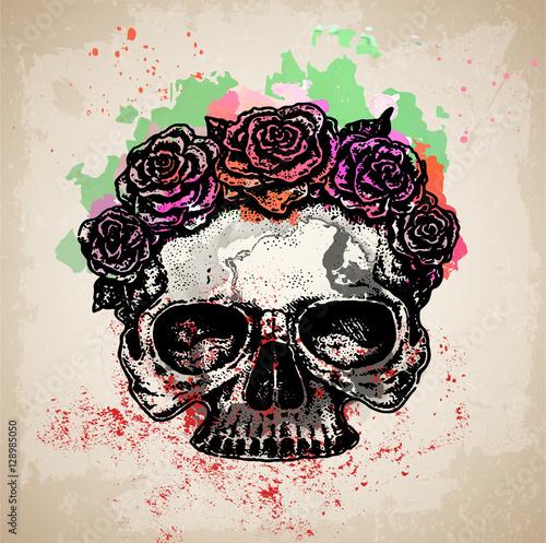 Spoed Fotobehang Aquarel Schedel череп с цветами эскиз татуировки акварель на грандж фоне