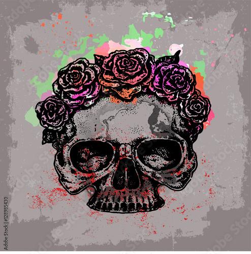 Printed kitchen splashbacks Watercolor skull арт эскиз татуировки акварель грандж череп с цветами