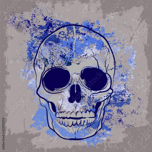 Foto auf AluDibond Aquarell Schädel эскиз синего черепа на сером фоне татуировка