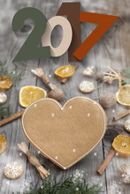 Christmas Heart Shaped Gingerbread Background. Snoflakes. Greeting Card For Christmas And New Year`s Eve Holiday 2018.Winter Holiday Poster.