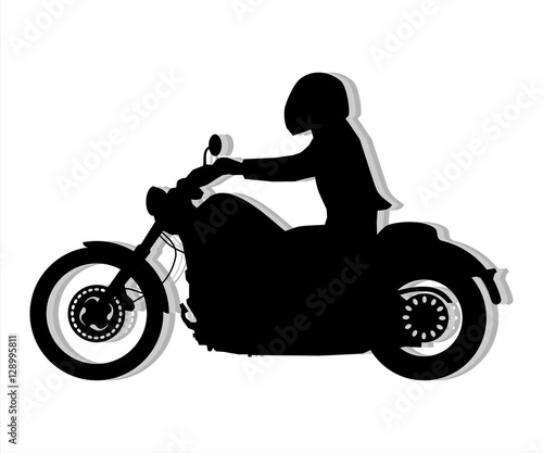 Poster Motocyclette Motorcyclist silhouette illustration