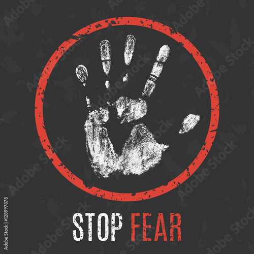 Photo  Vector. Negative human states and emotions. Stop fear.