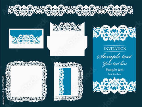 Set of design elements for laser cutting vector wedding invitation set of design elements for laser cutting vector wedding invitation or greeting card with flowers stopboris Images