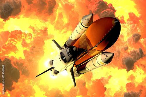 Tapety Kosmos  prom-kosmiczny-startuje-w-chmurach-ognia