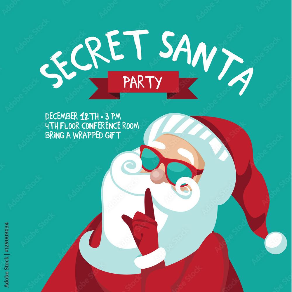 Secret Santa Template | Cartoon Secret Santa Christmas Party Background Template With Santa
