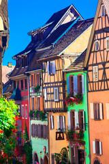 Fototapeta Architektura Most beautiful villages of France - colorful Riqewihr in Alsace