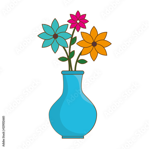 Fotografie, Obraz  flower vase isolated icon vector illustration design