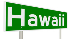 A 3d Rendition Of A Green Highway Sign For Hawaii