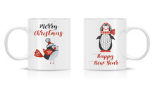 Design Template For Mock Up. Vector. Two Mug Mock-up. Photo Realistic White Cup Isolated On The White Background, With New Year And Christmas Illustration.