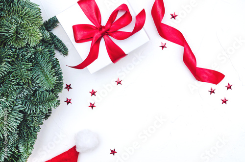 Christmas Top View.Flat Lay Top View Christmas Composition Isolated On White