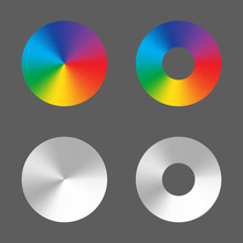 Radial Gradient Vector Circle Ring Rainbow And Monochrome