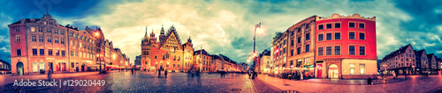 obraz dibond Wroclaw Market Square with Town Hall during sunset evening, Poland, Europe. Panoramic montage from 27 HDR Photos with post processing effects