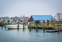 View Of The Chincoteague Bay Waterfront, In Chincoteague Island,
