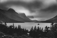 Black And White Wild Goose Island. Glacier National Park, Montana