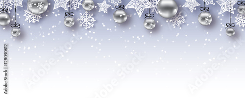 christmas baubles banner vector xmas happy new year background gray