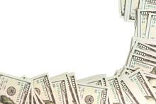 Mockup Frame Made Of Hundred-dollar Banknotes Isolated On White