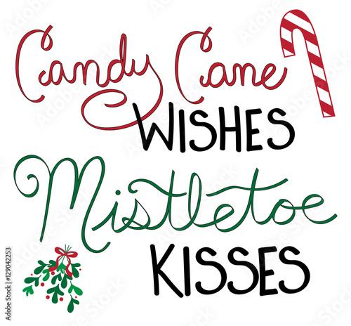 Fotografie, Obraz  Candy Cane Wishes Mistletoe Kisses