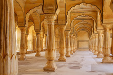 Sattais Katcheri Hall In Amber Fort Near Jaipur, Rajasthan, Indi