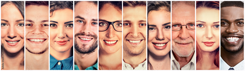 Fototapety, obrazy: Smiling faces. Happy group of multiethnic people men and women