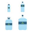 Plastic bottles of water with recycling signs set. Recycle eco. Vector illustration