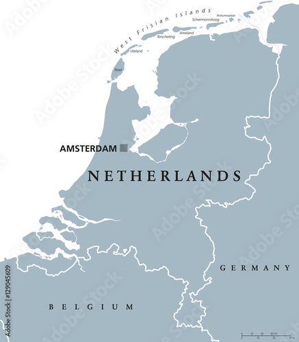 Netherlands political map with capital Amsterdam Canvas Print