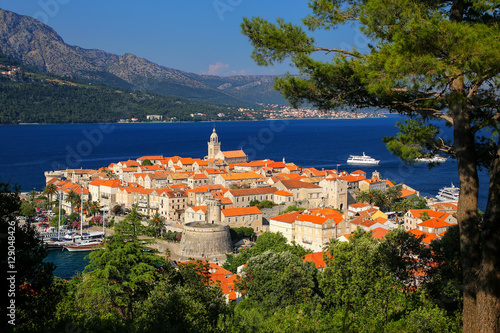 View of Korcula old town, Croatia Fototapet