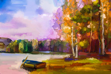 Oil Painting Landscape - Colorful Autumn Trees. Semi Abstract Image Of Forest, Trees With Yellow, Red Leaf And Boat At Lake. Autumn, Fall Season Nature Background. Hand Painted Impressionist Style