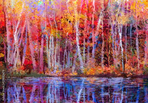 Obraz Obraz olejny kolorowe jesienne drzewa - fototapety do salonu