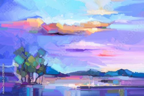 abstrakcjonistyczny-obraz-olejny-krajobrazu-tlo-kolorowe-zolte-i-fioletowe-niebo-obraz-olejny-na-zewnatrz-krajobraz-na-plotnie-semi-abstrakcyjne-drzewo-wzgorze-i-pole-laka-zmierzchu-natury-krajobrazowy-tlo