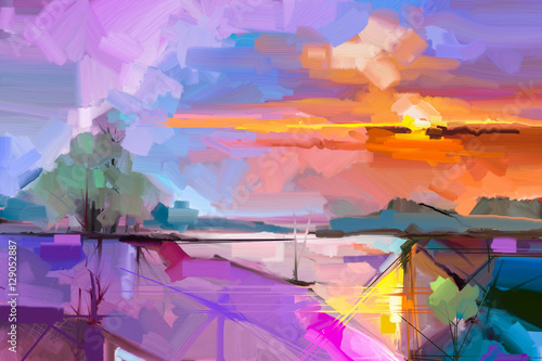 Fotobehang Purper Abstract oil painting landscape background. Artwork modern oil painting outdoor landscape. Semi- abstract of tree, hill with sunlight (sunset), colorful yellow - purple sky. Beauty nature background