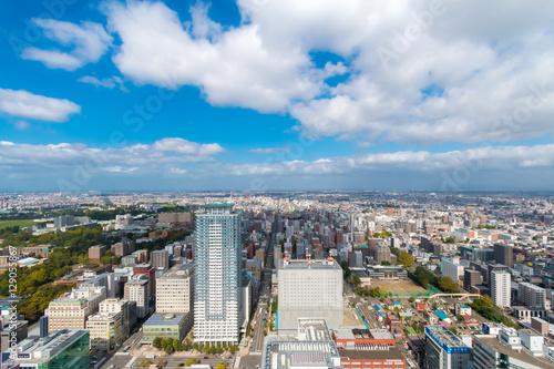 Poster Buenos Aires Aerial view toward northern Sapporo, Hokkaido, Japan