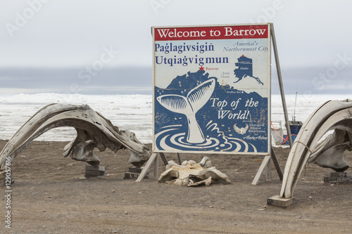 BARROW, ALASKA- JUNE 3, 2012: Welcome sign on the beach of the C Wallpaper Mural