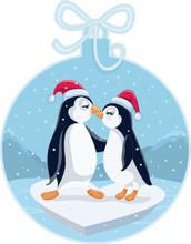 Cute Christmas Penguins Kissing Vector Cartoon