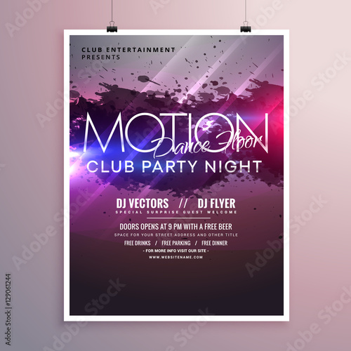 abstract dance music party flyer template with ink splash Wall mural