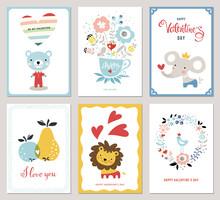 Valentine's Cards Design Collection. Bouquet, Floral Wreath, Apple, Pear, Bird, Hearts, Teddy Bear, Elephant And Little Lion. Vector Illustration.