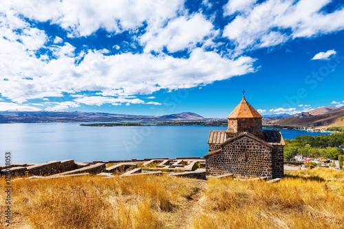 Scenic view of an old Sevanavank church in Sevan, Armenia Wallpaper Mural
