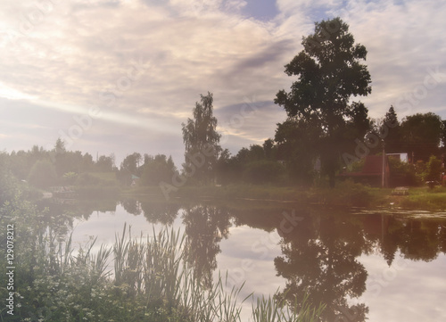 Poster Morning with fog Misty summer pond, countryside landscape