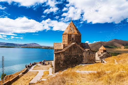 Photo Scenic view of an old Sevanavank church in Sevan, Armenia