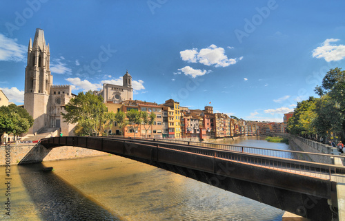 Panorama of the Catalan city of Girona on the river Onyar
