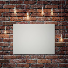 White Poster With Light Bulbs On Red Brick Wall, 3d Illustration