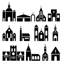 Church Building Icons. Vector ...